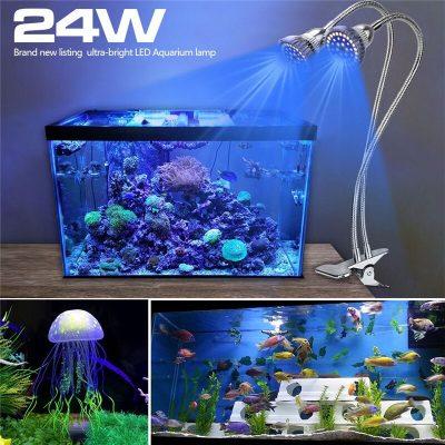 led apšvietimas akvariumo augalams su tvirtinimu 2x24W