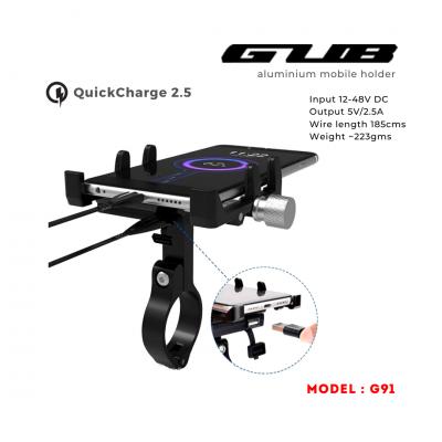 GUB G-91 telefono laikiklis su USB jungtimi
