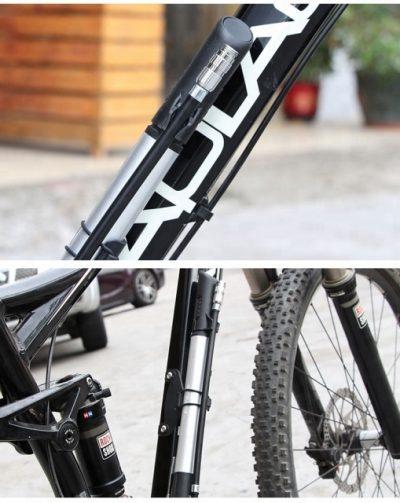GUB P003 dviračio pompa su slėgio matuokliu ant dviračio