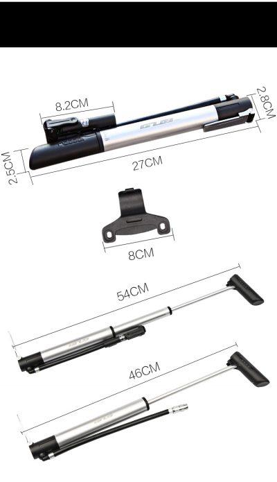 GUB P003 dviračio pompa su slėgio matuokliu išmatavimai
